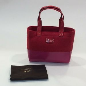 NWT Kate Spade modern red frosted felt Quinn bag